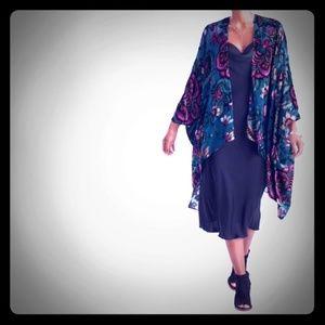 Teal And Fuchsia Burnout Velvet Lillian Kimono